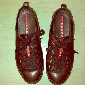 Prada Sport black leather low top sneakers